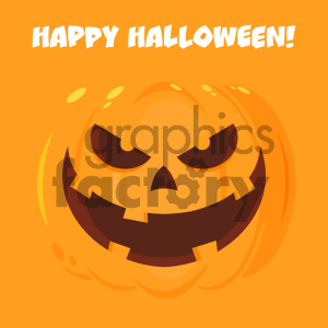 Evil Halloween Pumpkin Cartoon Emoji Face Character Vector Illustration Flat Design Style With Background And Text Happy Halloween clipart. Commercial use image # 403963