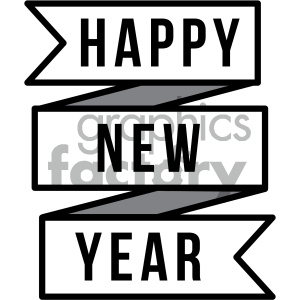 happy new year ribbon clipart. Commercial use image # 404016