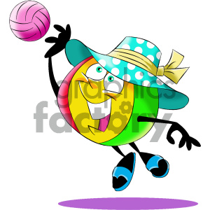 cartoon beach ball character playing volleyball clipart. Commercial use image # 404196