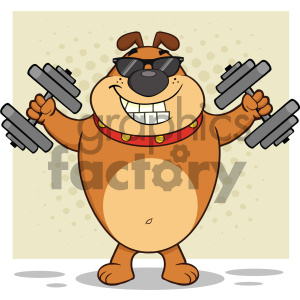 Smiling Brown Bulldog Cartoon Mascot Character With Sunglasses Working Out With Dumbbells Vector Illustration With Halftone Background Isolated On White clipart. Royalty-free image # 404244