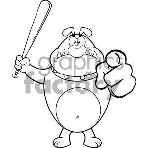 cartoon animals vector dog dogs holding baseball+bat black+white outline hostile