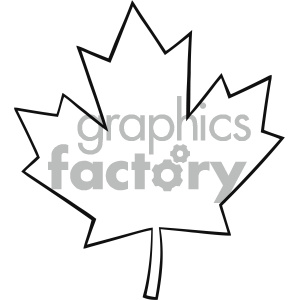 Royalty Free RF Clipart Illustration Outlined Canadian Maple Leaf Line Cartoon Drawing Vector Illustration Isolated On White Background