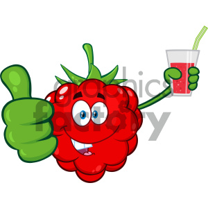 Royalty Free RF Clipart Illustration Raspberry Fruit Cartoon Mascot Character Holding Up A Glass Of Juice And Giving A Thumb Up Vector Illustration Isolated On White Background clipart. Commercial use image # 404288