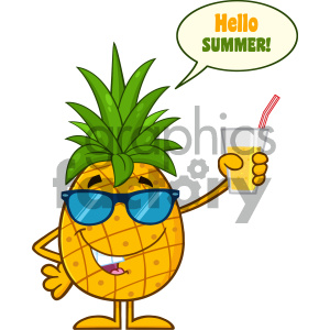 Pineapple Fruit With Green Leafs And Sunglasses Cartoon Mascot Character Holding Up A Glass Of Juice With Speech Bubble And Text Hello Summer clipart. Commercial use image # 404314