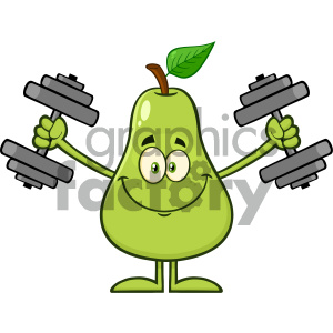 Royalty Free RF Clipart Illustration Smiling Green Pear Fruit With Leaf Cartoon Mascot Character Working Out With Dumbbells Vector Illustration Isolated On White Background clipart. Commercial use image # 404322