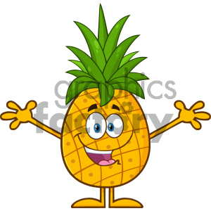 cartoon food mascot character vector happy pinapple