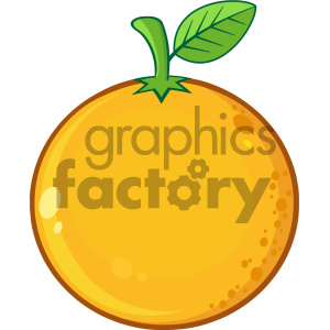 Royalty Free RF Clipart Illustration Orange Fresh Fruit With Green Leaf Cartoon Drawing Vector Illustration Isolated On White Background clipart. Royalty-free image # 404378
