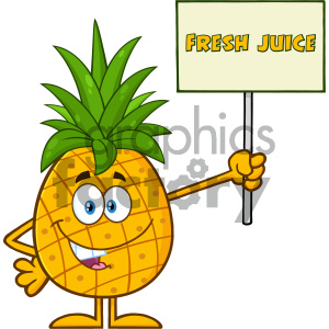 Pineapple Fruit With Green Leafs Cartoon Mascot Character Holding A Sign With Text Fresh Juice clipart. Royalty-free image # 404391