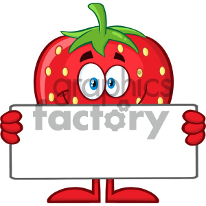 Royalty Free RF Clipart Illustration Smiling Strawberry Fruit Cartoon Mascot Character Holding A Blank Sign Vector Illustration Isolated On White Background clipart. Royalty-free image # 404399