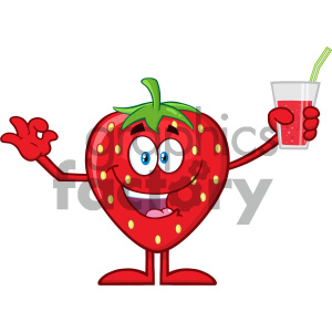 cartoon food mascot character vector happy strawberry fruit hello