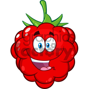 cartoon food mascot character vector happy raspberry fruit
