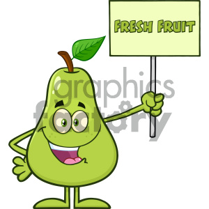 Royalty Free RF Clipart Illustration Green Pear Fruit With Leaf Cartoon Mascot Character Holding A Sign With Text Fresh Fruit Vector Illustration Isolated On White Background clipart. Royalty-free image # 404427