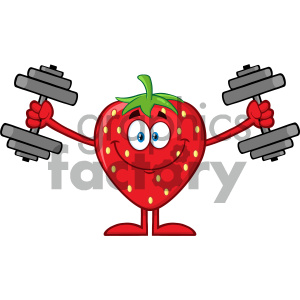 Royalty Free RF Clipart Illustration Smiling Strawberry Fruit Cartoon Mascot Character Training With Dumbbells Vector Illustration Isolated On White Background clipart. Royalty-free image # 404435