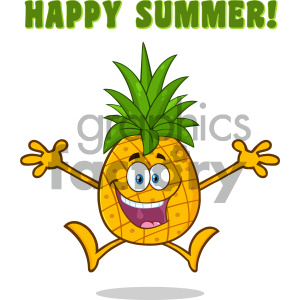 Happy Pineapple Fruit With Green Leafs Cartoon Mascot Character With Open Arms Jumping With Text Happy Summer clipart. Commercial use image # 404441