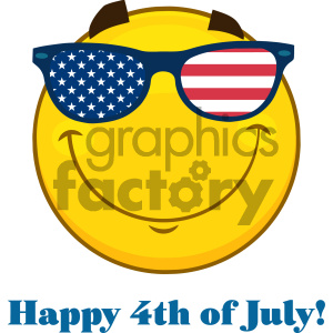 Royalty Free RF Clipart Illustration Smiling Patriotic Yellow Cartoon Emoji Face Character With USA Flag Sunglasses  Vector Illustration Isolated On White Background And Text clipart. Commercial use image # 404487