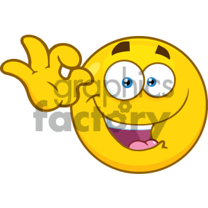 Royalty Free RF Clipart Illustration Funny Yellow Cartoon Smiley Face Character Gesturing Ok Vector Illustration Isolated On White Background clipart. Royalty-free image # 404489