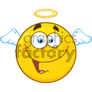 Royalty Free RF Clipart Illustration Smiling Angel Yellow Cartoon Smiley Face Character With Happy Expression Vector Illustration Isolated On White Background clipart. Royalty-free image # 404493