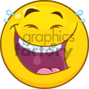 Royalty Free RF Clipart Illustration Happy Yellow Cartoon Smiley Face Character With Laughing Expression Vector Illustration Isolated On White Background clipart. Royalty-free image # 404504