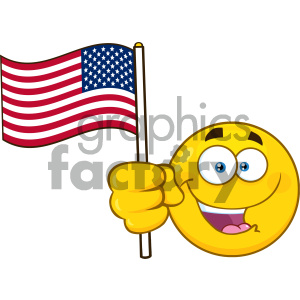 ed7379ad36c6 Royalty Free RF Clipart Illustration Patriotic Yellow Cartoon Emoji Face  Character Waving An American Flag Vector ...