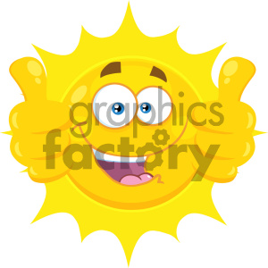 Royalty Free RF Clipart Illustration Smiling Yellow Sun Cartoon Emoji Face Character Giving Two Thumbs Up Vector Illustration Isolated On White Background animation. Royalty-free animation # 404541