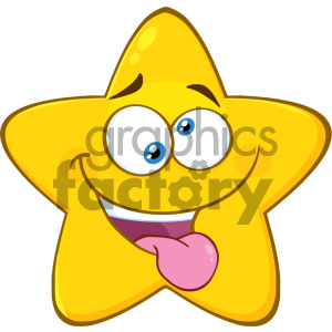 Royalty Free RF Clipart Illustration Mad Yellow Star Cartoon Emoji Face Character With Crazy Expression And Protruding Tongue Vector Illustration Isolated On White Background clipart. Commercial use image # 404560