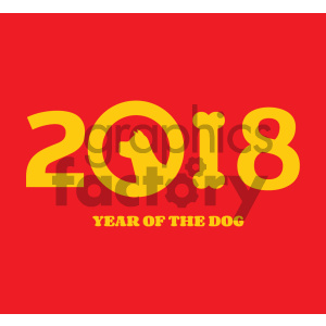 Clipart Illustration Year Of Dog 2018 Numbers Design With Dog Head Silhouette And Bone Vector Illustration Over Red Background clipart. Royalty-free image # 404586