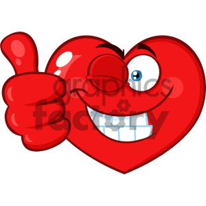 Red Heart Cartoon Emoji Face Character Winking and Giving A Thumb Up Vector Illustration Isolated On White Background clipart. Commercial use image # 404608
