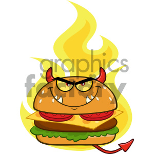 Angry Devil Burger Cartoon Character Over Flames Vector Illustration Isolated On White Background clipart. Commercial use image # 404636