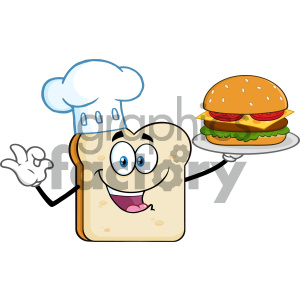 Chef Bread Slice Cartoon Mascot Character Presenting Perfect Burger Vector Illustration Isolated On White Background clipart. Royalty-free image # 404672