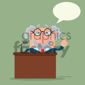 Professor Or Scientist Cartoon Character Speaking Behind a Podium With Speech Bubble Vector Illustration Flat Design With Background clipart. Commercial use image # 404698