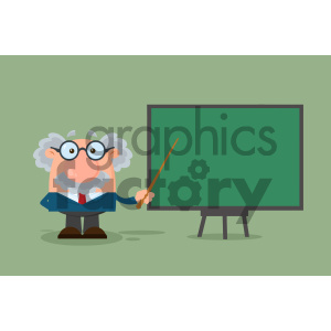 Professor Or Scientist Cartoon Character With Pointer Presenting On A Board Vector Illustration Flat Design With Background clipart. Commercial use image # 404704