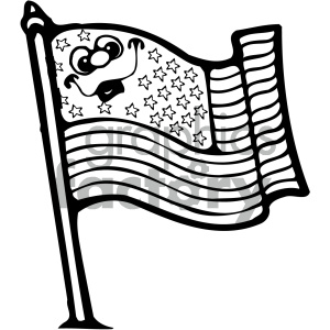 vector art american flag 002 bw clipart. Royalty-free image # 404706