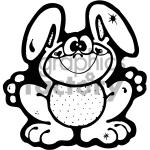 cartoon clipart bunny 002 bw