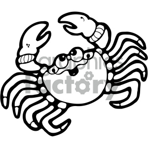 cartoon vector crab 003 bw clipart. Royalty-free image # 404924