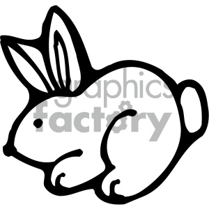 cartoon clipart bunny 008 bw clipart. Royalty-free image # 404964