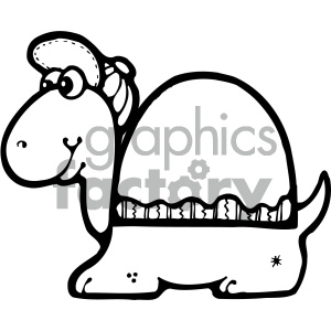 cartoon clipart turtle 009 bw clipart. Royalty-free image # 404966