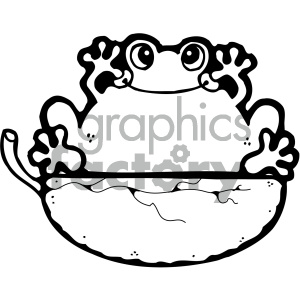 cartoon clipart frog 014 bw clipart. Royalty-free image # 404974