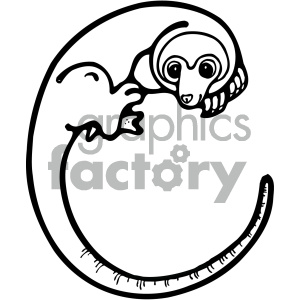 cartoon clipart cuscus 001 bw clipart. Royalty-free image # 405000