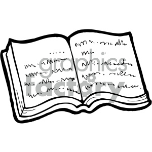 reading book 005 bw clipart. Royalty-free image # 405013
