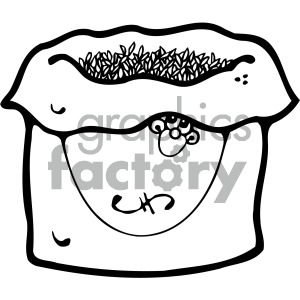 black and white cartoon bag of grains clipart. Royalty-free image # 405107