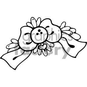 black white cartoon bow