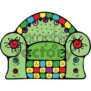 green cartoon chair vector clipart. Royalty-free image # 405162