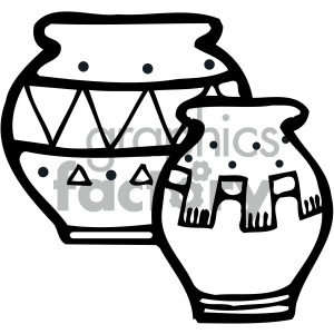 black white native american pottery clipart. Royalty-free image # 405171