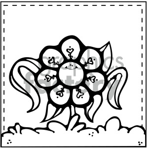 Black White Spring Flower Vector Image Cartoon Clipart Images And