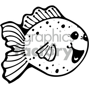 cartoon vector fish 006 bw