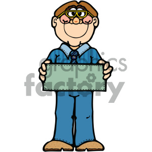 man holding blank sign art clipart. Royalty-free image # 405336