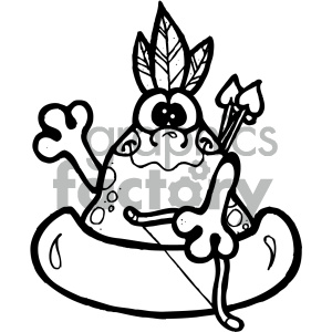 black and white native american frog art clipart. Commercial use image # 405342