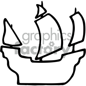 black white pirate ship silhouette clipart. Commercial use image # 405475