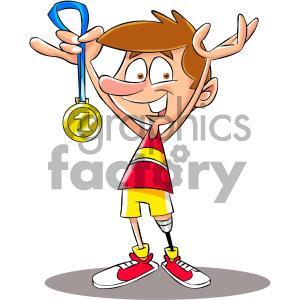 cartoon character mascot funny award medal handicap disabled prosthetic winner marathon