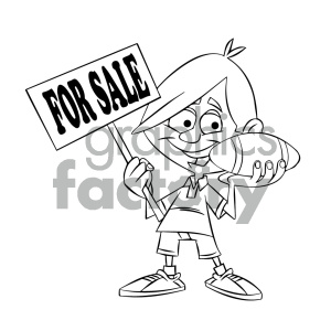 black and white cartoon kid holding a football clipart. Commercial use image # 405573